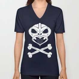 Skull and crossbones tiki Unisex V-Neck