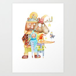 Christmas Animals Art Print