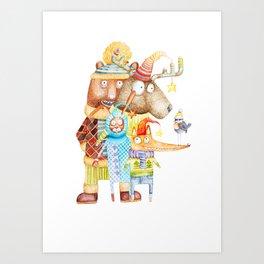 Christmas Animals Art Print