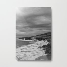 Waves crashing against the rocks in black and white, Costa Azahar Metal Print