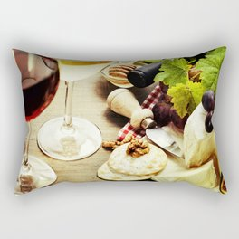 Wine, grape and cheese on wooden background Rectangular Pillow