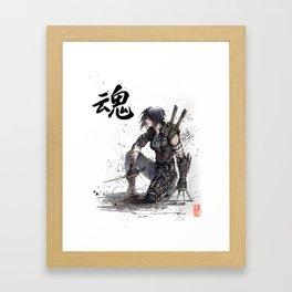 Calligraphy SOUL Ghost in the Shell Motoko Ninja Framed Art Print