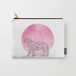 Geometric Tiger In Thin Stipes On Circle Background Carry-All Pouch