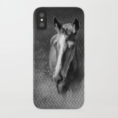 Horse emerging from the mist iPhone X Slim Case