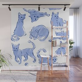 Cat Crazy blue white Wall Mural