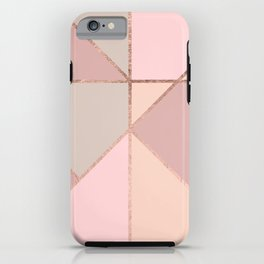 Modern rose gold peach blush pink color block iPhone Case