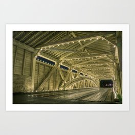 Covered Bridge Interior - Holiday Lights Art Print