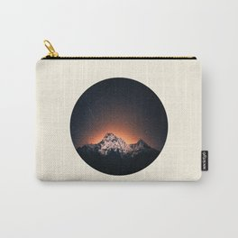 Glowing Star Sky Behind Snow Mountain Round Photo Vintage Carry-All Pouch