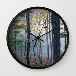 Mystic Forest - Early Morning Glow in Smoky Mountains Wall Clock