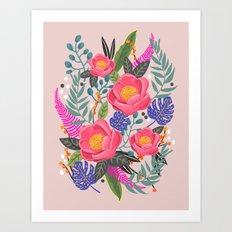 Romantic Blossom, flower print, floral print Art Print