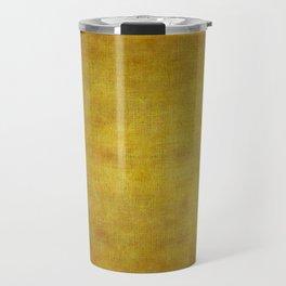 """Gold & Ocher Burlap Texture"" Travel Mug"