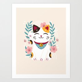 Japanese Lucky Cat with Cherry Blossoms Art Print