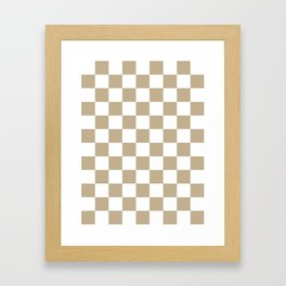 Checkered - White and Khaki Brown Framed Art Print