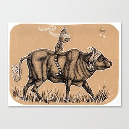 Teatime with waterbuffalo and genet Canvas Print