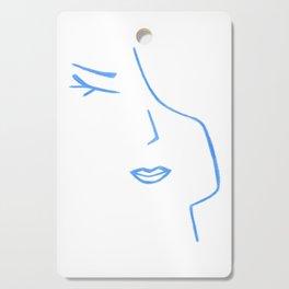 Pastel Blue Elegant Feminine Woman Kind Minimalist Line Drawing Faces Cutting Board