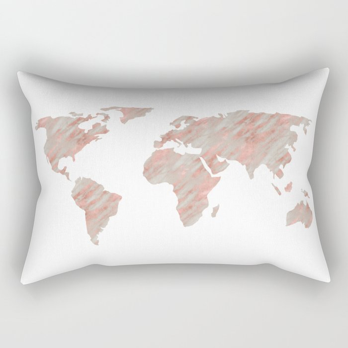 World Map Marble Rose Gold Rectangular Pillow