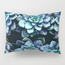 Blue And Green Succulent Plants Pillow Sham