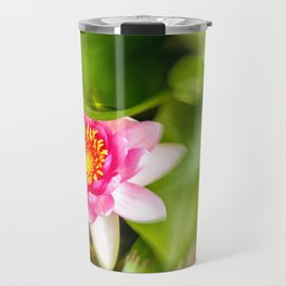 Red Water Lily Travel Mug