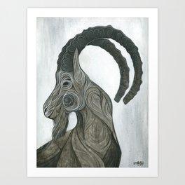 Ibex BW Art Print