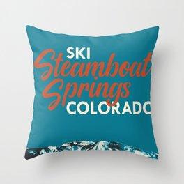 Steamboat Springs Vintage Ski Poster Throw Pillow