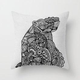 Sitting Hippo Doodle Throw Pillow