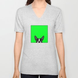 Boston Terrier Green Unisex V-Neck