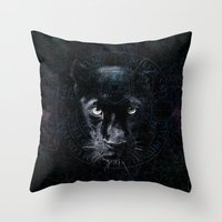 panther Throw Pillows featuring PANTHER by FLUFFY REMAINS