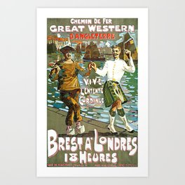 France to England, Brest to London vintage travel ad Art Print