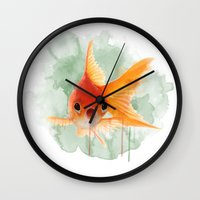 goldfish Wall Clocks featuring Goldfish by Sarah Sutherland