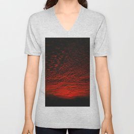 Gorgeous red skies, clouds, and sky at sunset Unisex V-Neck