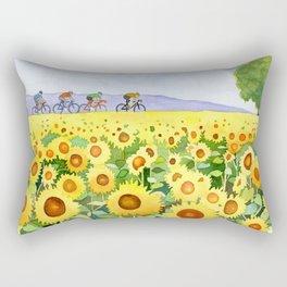 Sunflowers and bicyclists Rectangular Pillow