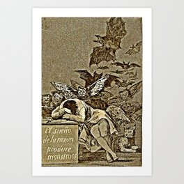 """Caprice No. 43, """"The Sleep of Reason Produces Monsters."""" Art Print"""