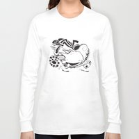 hobbes Long Sleeve T-shirts featuring Calvin and Hobbes line-work caricature design by Eric Goodwin
