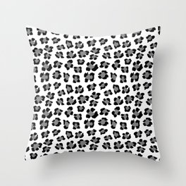 Medium Black and White Leopard Spots Animal Print Throw Pillow