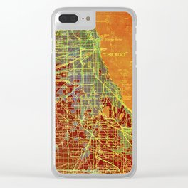 10-Chicago Illinois 1947, old map, orange and red Clear iPhone Case