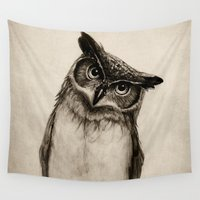 sketch Wall Tapestries featuring Owl Sketch by Isaiah K. Stephens