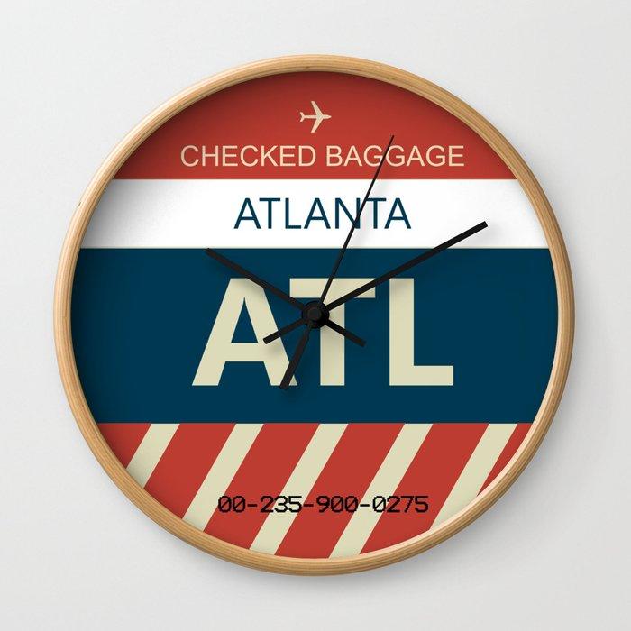 ATL Atlanta, GA Airline Baggage Tag Wall Clock
