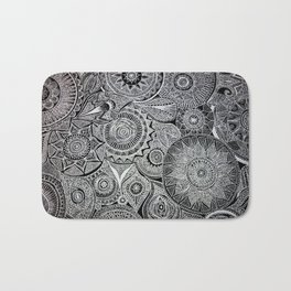White Pen Mandala Collage Bath Mat