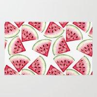 vegetarian Area & Throw Rugs featuring Watermelon pattern by Julia Badeeva