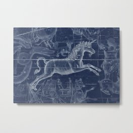 Unicorn stars sky map Metal Print