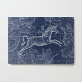 Unicorn stars sky map Metal Print
