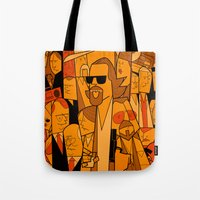 big lebowski Tote Bags featuring The Big Lebowski by Ale Giorgini