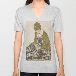 "Egon Schiele ""Edith with Striped Dress, Sitting"" Unisex V-Neck"