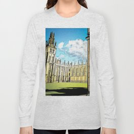 Gothic Architecture with Peaceful Yard in Oxford UK Long Sleeve T-shirt