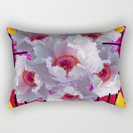 BUTTERFLIES MODERN WHITE TREE PEONY FLOWERS RED ART Rectangular Pillow