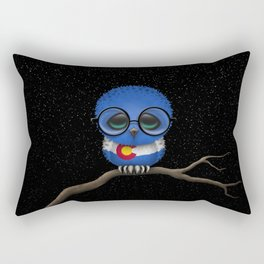 Baby Owl with Glasses and Colorado Flag Rectangular Pillow
