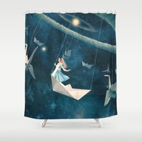 surrealism Shower Curtains featuring My Favourite Swing Ride by Paula Belle Flores