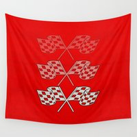 flag Wall Tapestries featuring Checkered Flag by Spooky Dooky