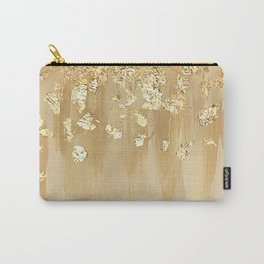 Beige and Gold Leaf Carry-All Pouch
