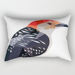 Woodpecker bird art Black and red geometric Rectangular Pillow